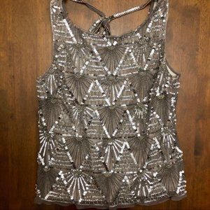 Scala Silk Hand-Beaded Taupe Sleeveless Top